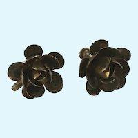 Silver-Tone Flowers Screw Back Earrings