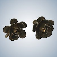 Silver-Tone Flowers Screw Back Earrings