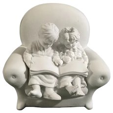 Dept 56 Christmas Chair with Children Reading Book Bisque Silhouette Figurine