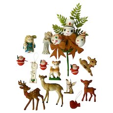 Vintage Christmas Tree Santa Reindeer Decoration Ornaments Circa 1960's Group