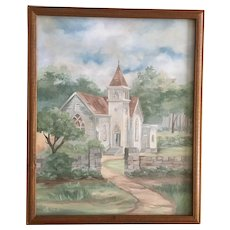 Country Church Landscape Oil Painting Signed By Artist Maribel