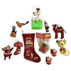 Vintage Christmas Stocking Santa  Decoration Ornaments Circa 1960's Group
