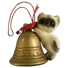 Vintage Josef Originals Siamese Cat on Bell Christmas Tree Ornament Figurine