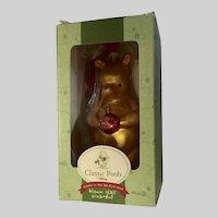 Baby's First Christmas Winnie The Pooh Bear Glass Ornament Classic Disney NIB