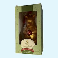 Baby's First Christmas Winnie The Pooh Bear Glass Ornament Classic Disney NIB