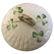 "Belleek Shamrock Basket Weave Lid Replacement 3-1/4"" Diameter"