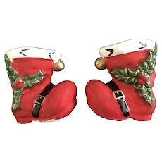 Mid-Century Christmas Santa Boots Salt and Pepper Shakers Made in Japan