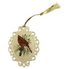 Christmas Lenox Winter Greeting Cardinal Bird Porcelain Ornament Gold Tassel