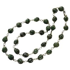 Polished Jade Stones in Gold-Tone Wire Filigree Necklace 27""
