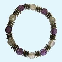 Purple, Clear and Silver-Tone Beaded Bracelet