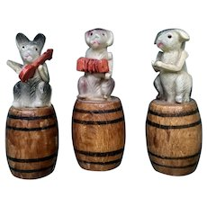 Miniature Dog Band Celluloid Figurines on Wooden Barrels