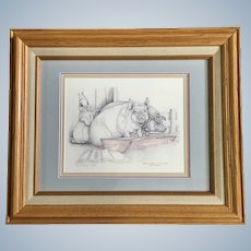Sue A. Rupp (1959-2008) Putting Hare in Pig Tails Limited Edition Print Signed by Artist
