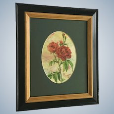 M Conrad, Red Roses Watercolor Painting Signed by Artist