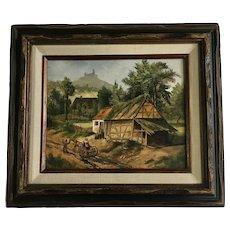 Lavinder, Rustic European Neighborhood Below Castle on Hill, Signed Oil Painting
