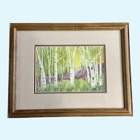 Jan Archuleta, Green Aspen Tree Forest and Rock Watercolor Painting