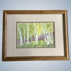 Jan Archuleta, Green Aspen Tree Forest and Rock Watercolor Painting Signed by Colorado Artist