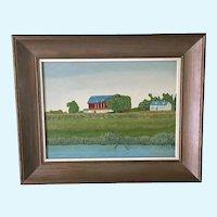 Schrader, Bucolic Primitive Farm Landscape Oil Painting Singed by Artist
