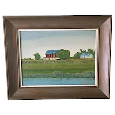 Schrader, Bucolic Primitive Farm Landscape Oil Painting Singed by Artist