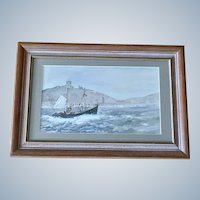 Colin Williamson, Fishing Boat in Scarborough Harbor Watercolor Signed by Listed British Artist