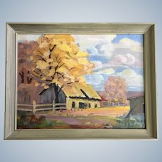 Rural Homestead Landscape Oil Painting