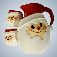 Mid-Century Santa Claus Face Christmas Pitcher and 2 Cups