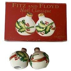 Fitz and Floyd Noel Classique Salt and Pepper Shakers Classic FF Porcelain Christmas Balls NIB