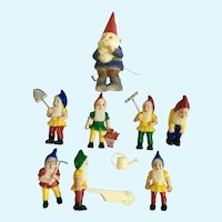 Vintage Cake Toppers Seven Dwarfs and Chief Nome Elf Figurines