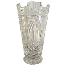 Waterford Crystal Flared Vase Cut Castle Top Footed