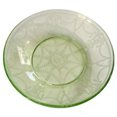 Green Depression Glass Cameo Ballerina Fruit Bowl