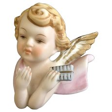 Napco Porcelain Angel Playing Flute Wall Plaque