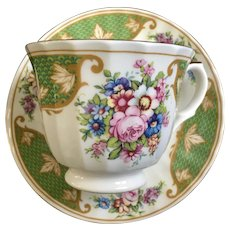 Elite Cup and Saucer Fine Bone China England Green and Gold Floral Bouquet