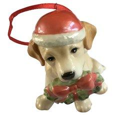 Golden Retriever Puppy Dog Christmas Tree Ornament DNC Fine Porcelain Figurine