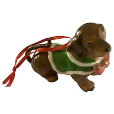 Dachshund Puppy Dog Christmas Tree Ornament DNC Fine Porcelain Doxin Figurine