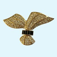 Gold Black Brooch Gold-tone Faux Diamond Pin
