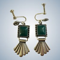 Sterling Green Square Screw Back Earrings