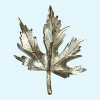 Silver-tone Autumn Tree Leaf Pin