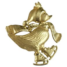 Gold-tone Christmas Duck Ice Skating Brooch Pin
