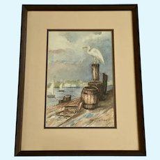 Mary Cutshall, Pellican on a Dock Watercolor Painting Signed by Artist