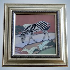 Lockhart, Zebra by Watering Hole Primitive Watercolor Painting Singed by Artist