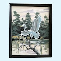 James Bunnell, Egret Bird in Swamp Serigraph Screen Print