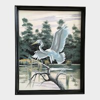 James Bunnell, Egret Bird in Swamp Serigraph Screen Print