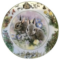 Sarah Woods April Outing Backyard Buddies 1994 Bunny Rabbits Plate Crestley Collection