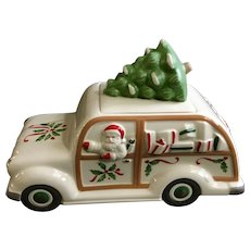 Christmas Santa Station Wagon Car Cookie Jar Lenox Holiday