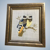 Owl Sitting on a Branch Hand Stitched Picture
