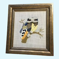 Witty Owl Sitting on a Branch Hand Stitched Picture