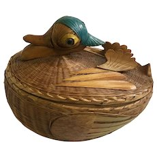 Duck Basket Trinket Box Whicker