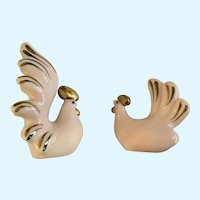 Pink Rooster and Hen Salt and Pepper Shakers Retro Ceramic Figurines