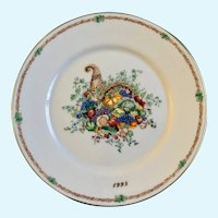Lenox 1995 Cornucopia Thanksgiving America's Bounty Plate Limited Edition