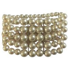 Five Stranded Faux Pearl Bracelet RMN