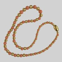 """Faux Coral and Gold-Tone Beaded Necklace 24"""""""